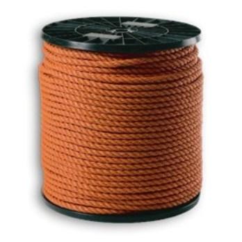 Touw PE Tiptolene  8.0 mm 3-draads oranje (spoel= 200 meter)
